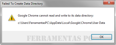 Erro Google Chrome Cannot read and write to its data directory