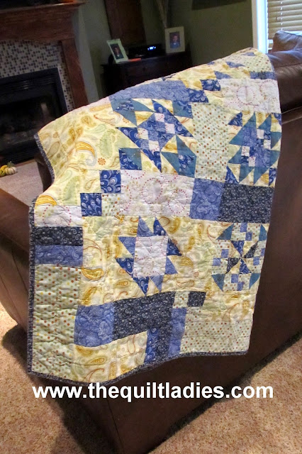 Blue and yellow quilt pattern by The Quilt Ladies