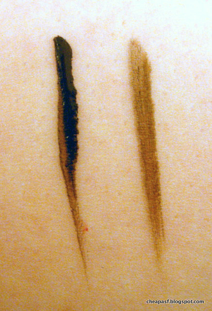 Swatches of Wet N Wild MegaLiner Liquid Eyeliner in  Dark Brown and e.l.f. Waterproof Eyeliner Pen in Coffee