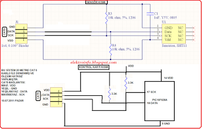 sht11 ısı nem sensörünün kablo mesafesinin artırılması
