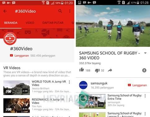 Cara Nonton Video 360 di Android