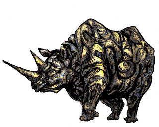 endangered species art, Xavier Cortada, black rhino