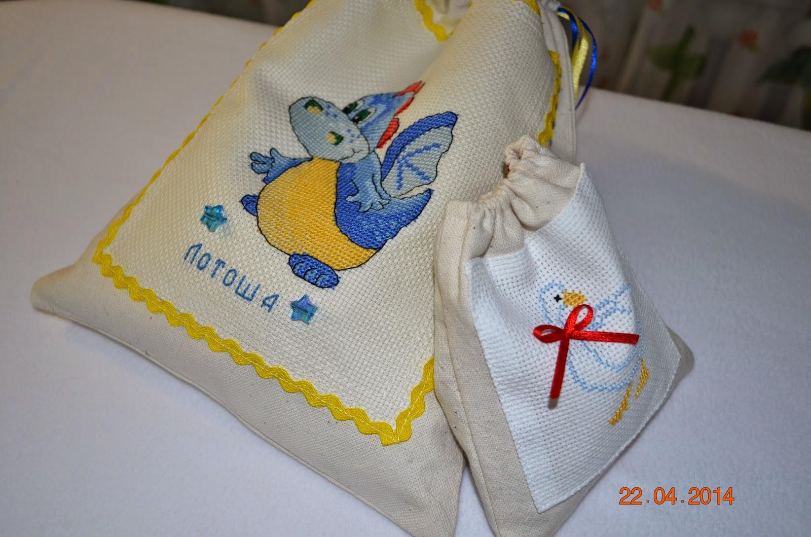 Вышивка на мешочек для белья 3