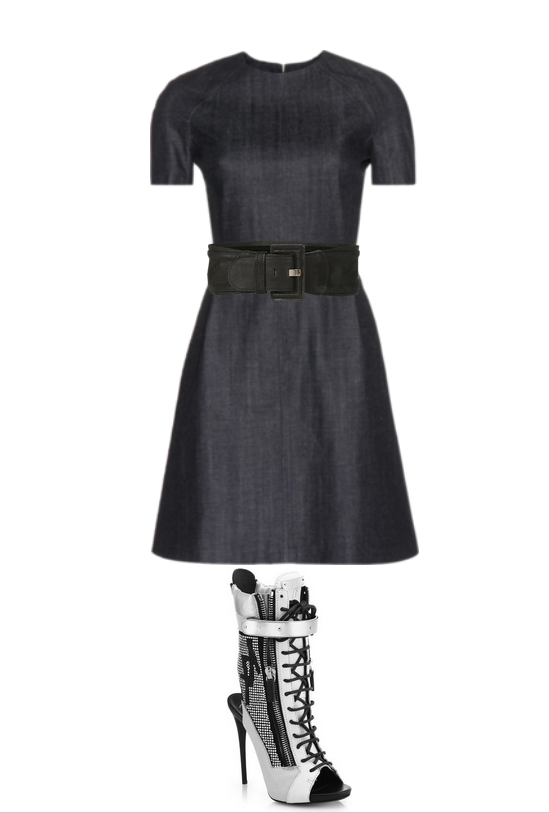 denim dress,balck belt, heels