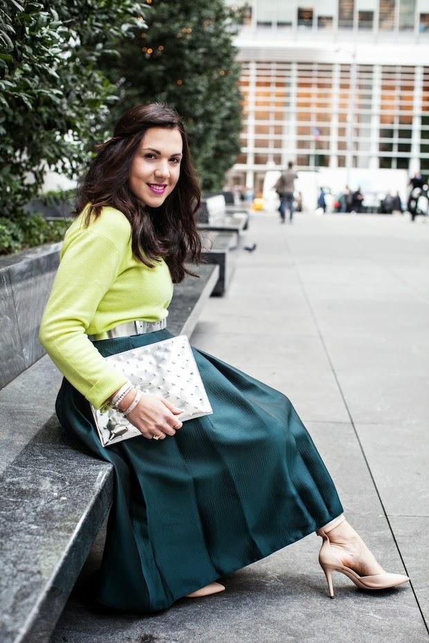 Tibi Simona full jacquard skirt and Joe Fresh Cashmere sweater.