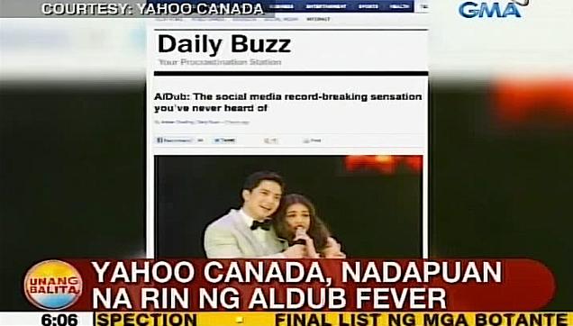 ALDUB featured in Yahoo Canada