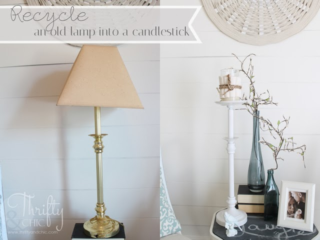 Repurpose an old lamp into a candlestick