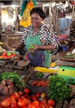 Micro-gardener food vendor Accra, Ghana.