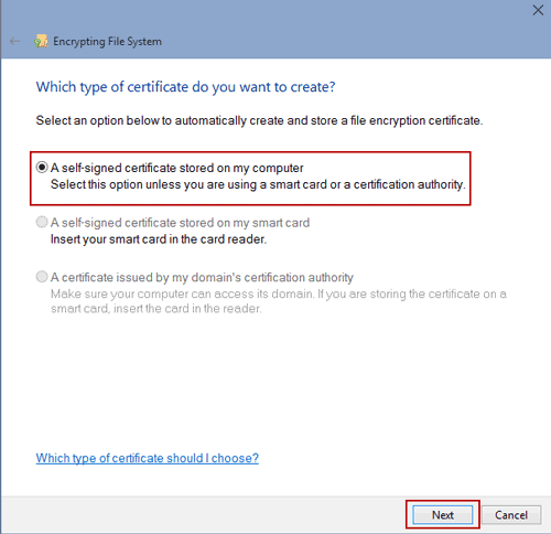 choose certificate type to create on windows 10