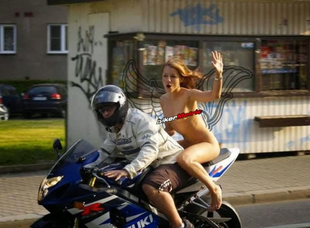naked girl riding a motorcycle