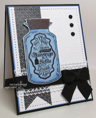 ODBD Apothecary Bottles and Custom Dies, Quatrefoil Pattern Die (embossed bg), Card Designer Angie Crockett