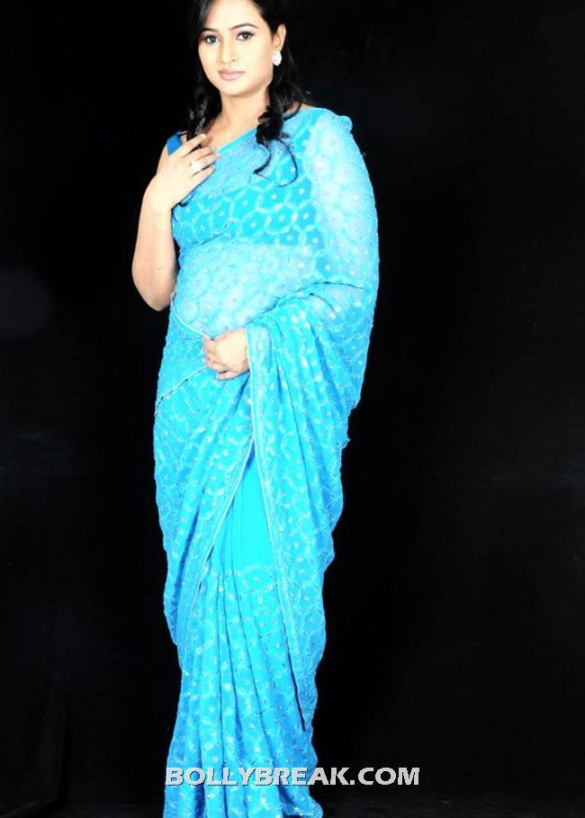 , Anupama In Blue Transparent Saree