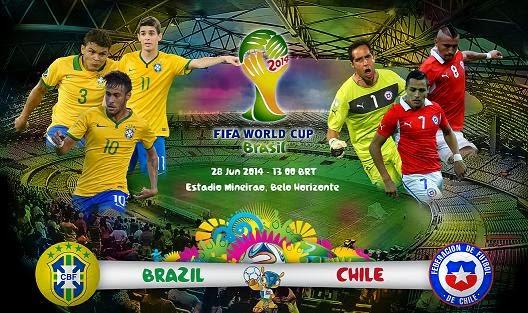 Ver Partido Brasil vs Chile Octavos de Final Mundial 2014