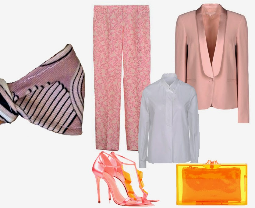 outfit rosa pink giacca vanessa bruno pantaloni blumarine camicia golden goose cltch charlotte olympia gialla sandali giannico