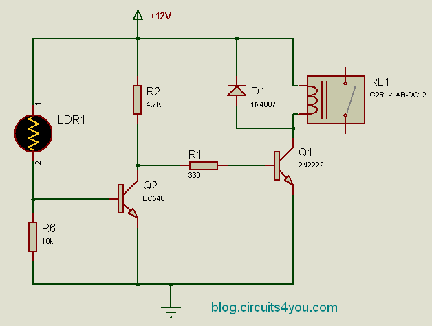 Dark Activated Relay | circuits4you.com