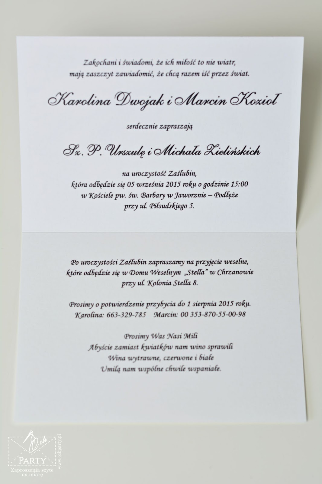 Papeteria Szyta Na Miarę Romantyczne Zaproszenia ślubne Ze Zdjęciem