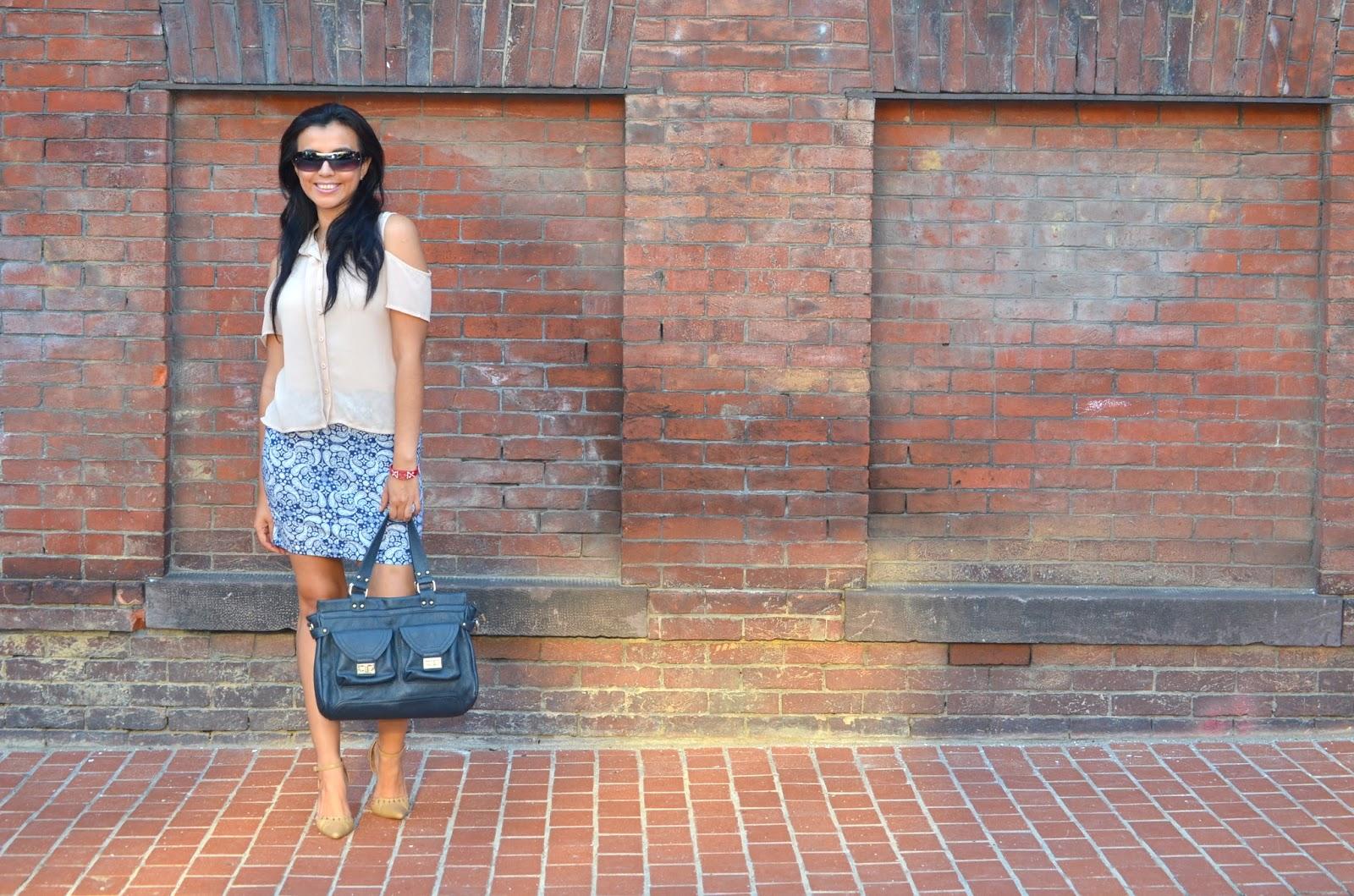 Blue Patterned Jersey Skirt