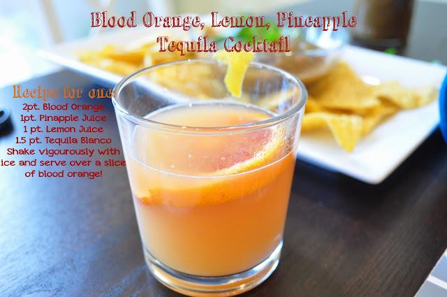 blood orange, pineapple, lemon, tequila, cocktail