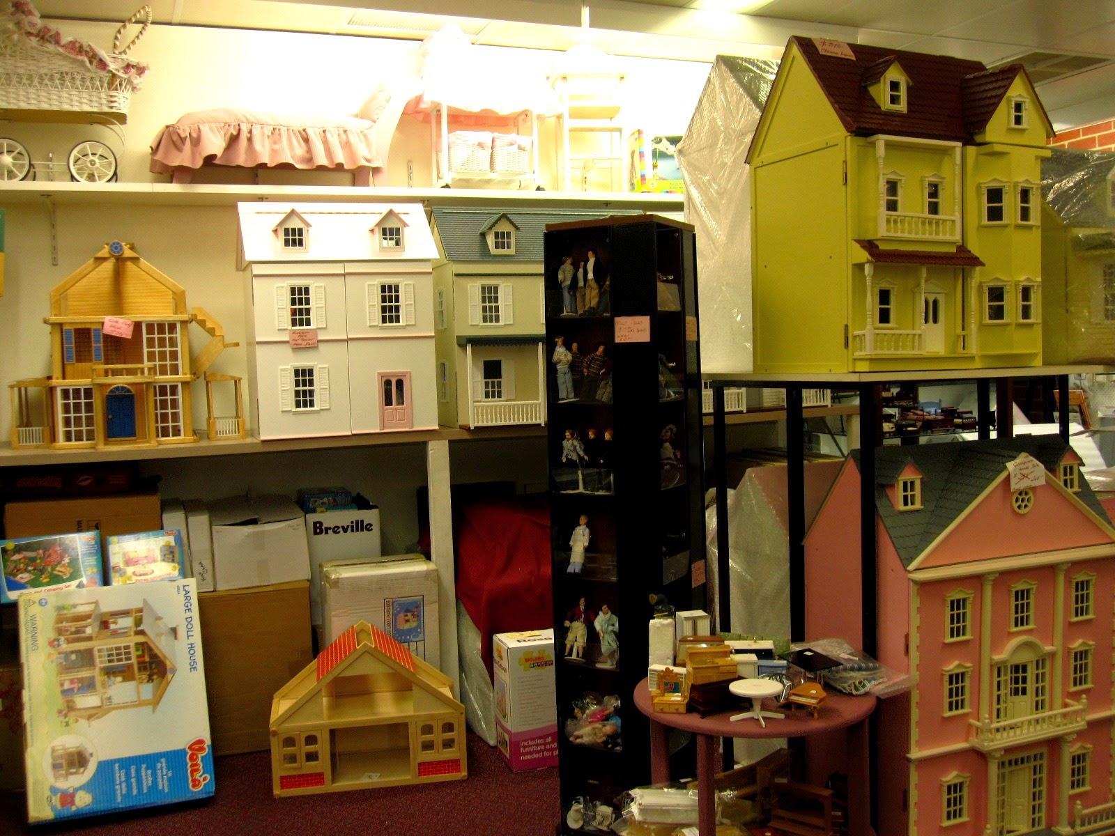 Display of dolls' houses for sale at The Doll House in Mont Albert.