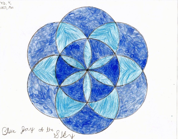 Circle Design Art : Geometric art project seven circle flower design