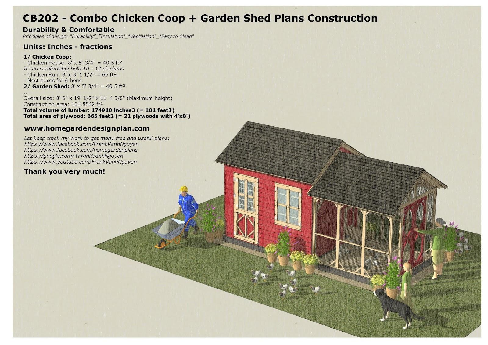 Garden Sheds 8 X 5 home garden plans: cb202 _ combo chicken coop + garden shed plans