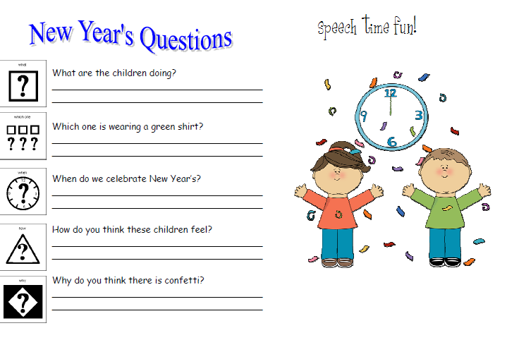 New Years Picture Comprehension FREEBIE – New Years Worksheets