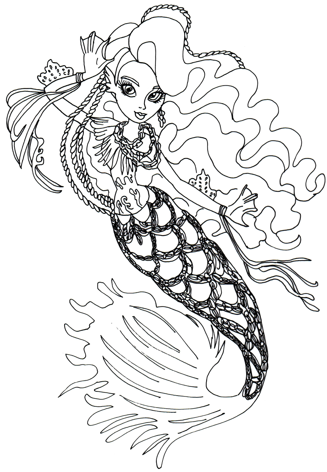 colorear dibujo de la sirena monster high