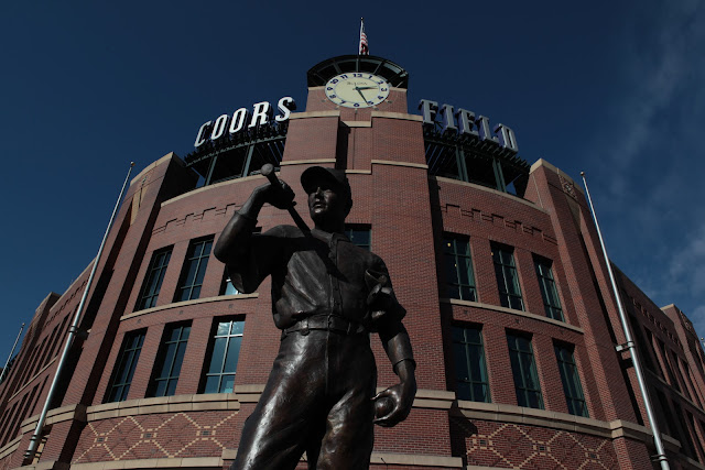 The statue outside the home plate entrance at Coors Field in downtown Denver.