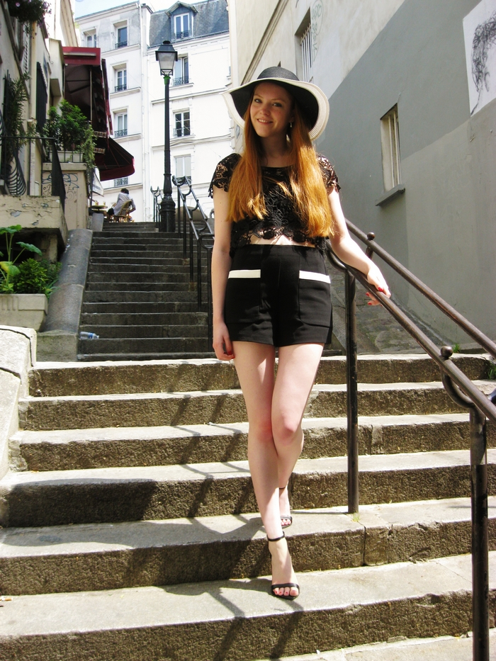fashion blog paris floppy hat monochrome