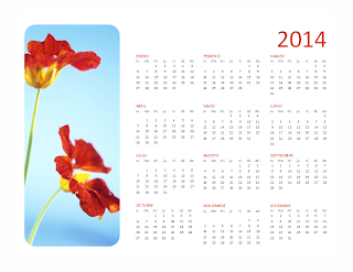 Calendario 2014 con foto, lunes a domingo, Publisher