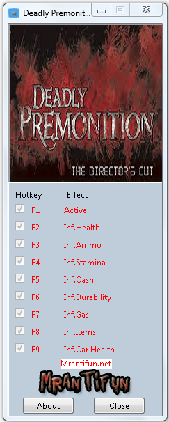 Deadly Premonition The Director Cut v1.0.0.1 Trainer +8 [MrAntiFun]
