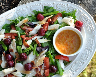 Arugula Salad with Smoked Trout & Peach Preserve Dressing ♥ AVeggieVenture.com, simple but special salad supper, makes up in minutes.