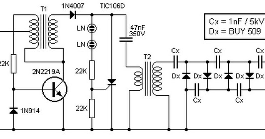 light circuit diagram  9v to 13 5kv inverter circuit