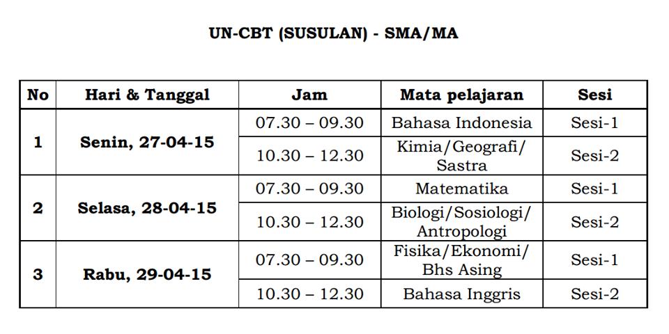Jadwal UN CBT SMA/MA Susulan 2015