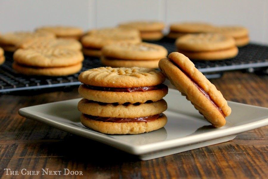 Peanut Butter Sandwich Cookies with Chocolate Hazelnut Filling | The Chef Next Door