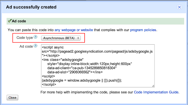 Ad Successfully Created - ad code window - where you can copy and paste adsense code from - now has a Code Type drop-down above the Ad-code box.