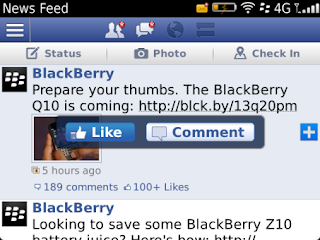Facebook v4.1.0.19 for BlackBerry