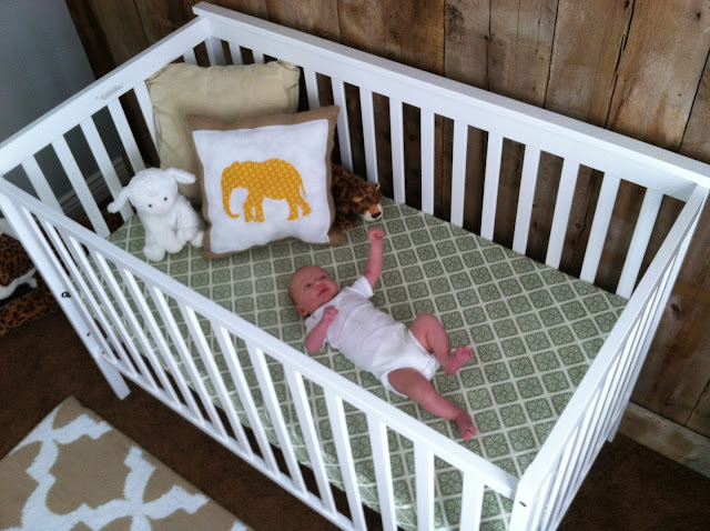 burlap pillow, elephant nursery