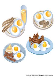 dibujos de platos de huevos fritos