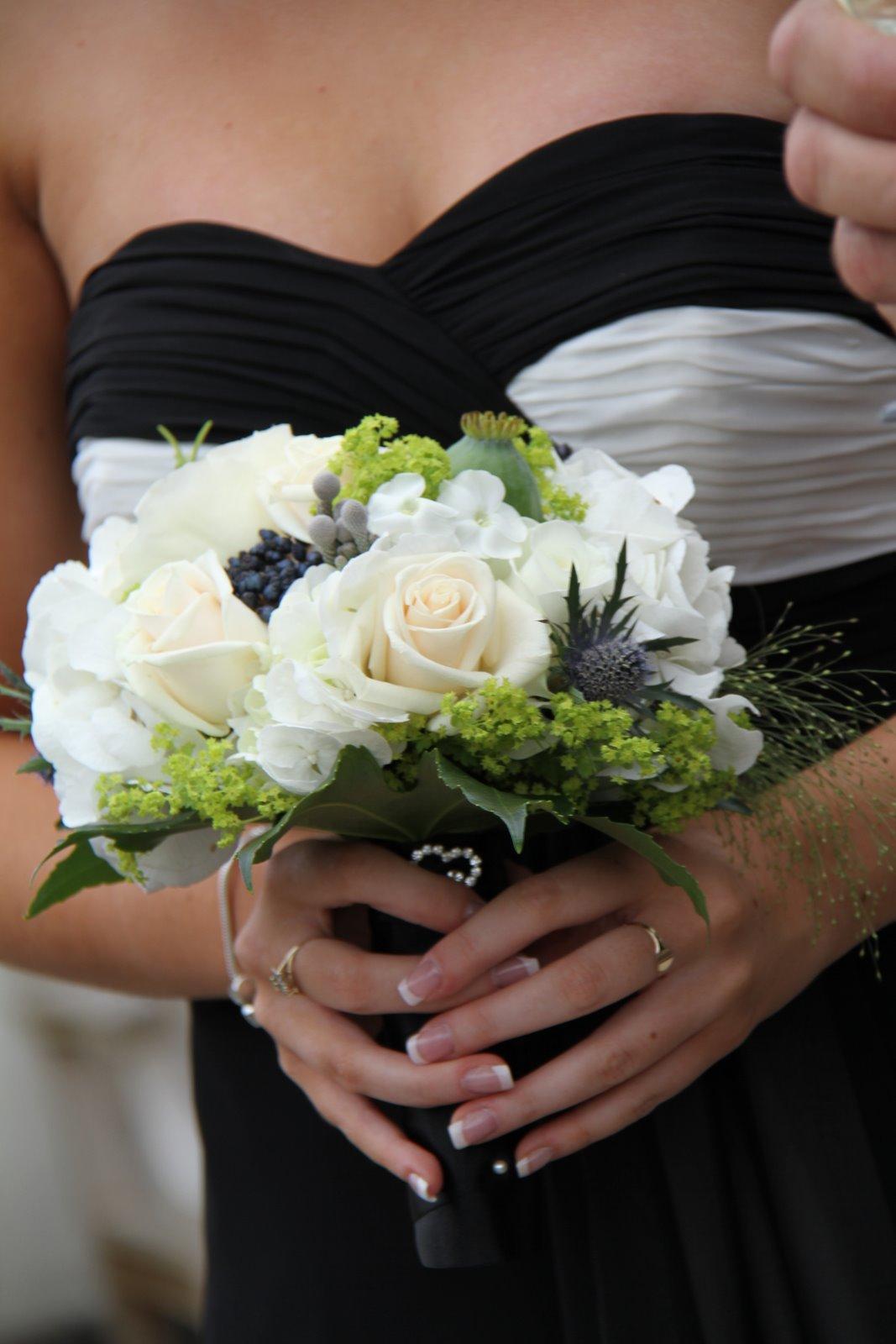 Flower design beautiful bridesmaids bouquets black white bridesmaids bouquets in shades of black white cream izmirmasajfo