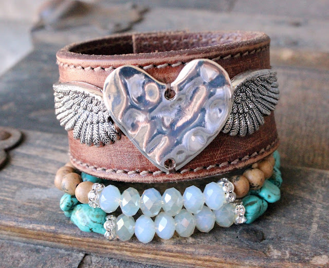 Rocker chic leather cuff angel heart wings bohemian bracelets turquoise brown bring arm party candy boho
