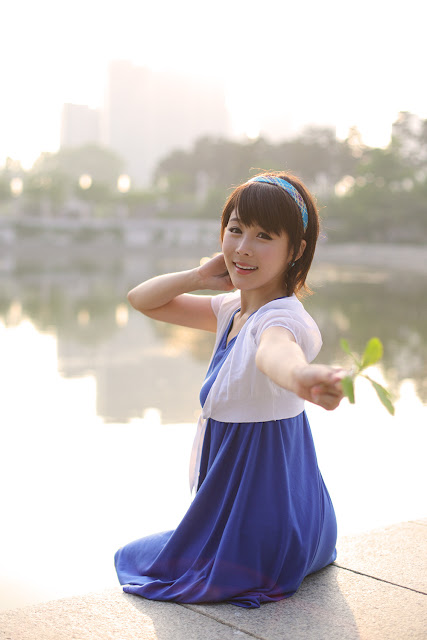 4 kim Ji Min in Blue-very cute asian girl-girlcute4u.blogspot.com