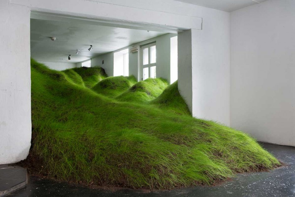Artist Per Kristian Nygrd Created Not Red But Green A Grass Sculpture Installation That Was Shown At The No Place Gallery In Oslo Norway