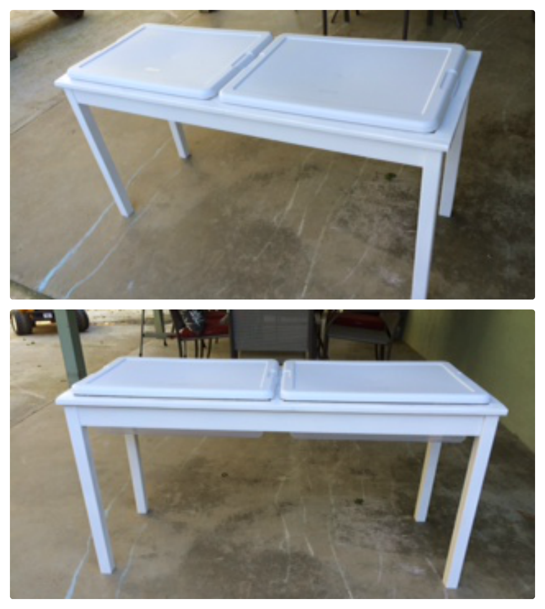 Popular with the poplins diy sand and water table for Diy sand and water table pvc