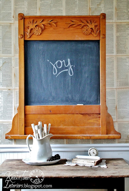 repurposed antique oak frame into chalkboard via Knick of Time