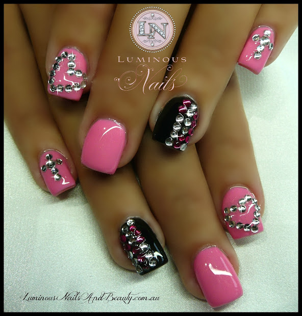 pink black & bling nails
