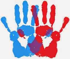 "Red and Blue Hand Prints, titled ""AMbidexterity"" by the artist"