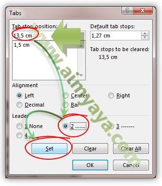 Gambar: Membuat titik-titik dengan tab stop