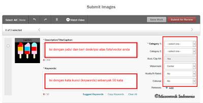 memberi keywording, title dan categories di shutterstock