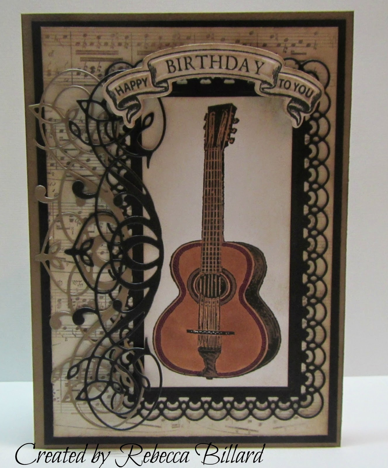 Rebecca From The Rock Crafty Corner: Guitar Birthday Card